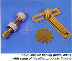 Kell's smaller honing guide with some of his other products